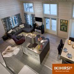 Вид сверху на гостиную. Модель H2-154 #деревянныйдом из клееного бруса #Ikihirsi Corner Desk, Furniture, Home Decor, Corner Table, Decoration Home, Room Decor, Home Furnishings, Home Interior Design, Home Decoration