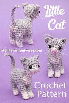 Crochet Applique Patterns Free, Crochet Cat Pattern, Crochet Animal Patterns, Stuffed Animal Patterns, Crochet Patterns Amigurumi, Easy Crochet Animals, Crochet Cat Toys, Cute Crochet, Crochet Projects