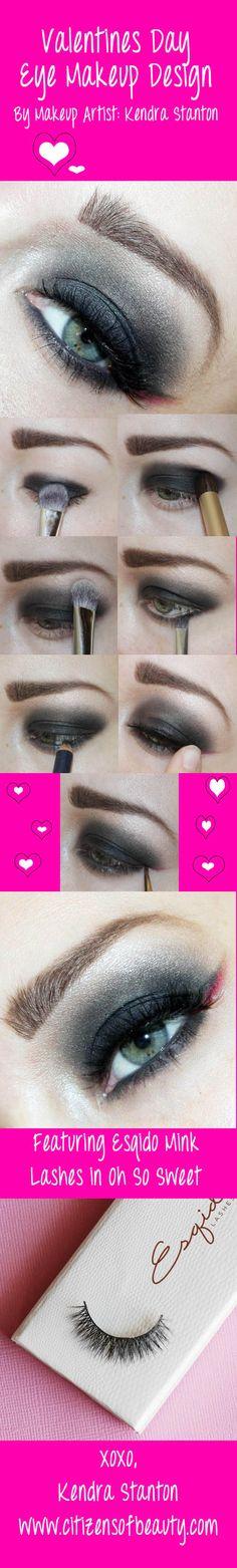 "ESQIDO Lashes in ""Oh So Sweet!"" http://ESQIDO.com. Valentines Day Smokey Eye Design! #valentinesday #lashes #smokey"
