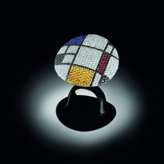 Ring set in white gold with coloured sapphires and diamonds from Art collection: Homage to Mondrian, Palmiero JewelleryDesign