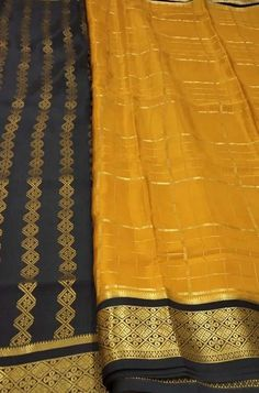 Yellow Handloom Mysore Crep... Yellow Fabric, Silk Fabric, Woven Fabric, Crepe Silk Sarees, Silk Crepe, South Indian Bride Saree, Mysore Silk Saree, Hairstyle, Jewellery
