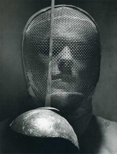 Andreas Feininger: A Fencer with Face Mask, 1955.