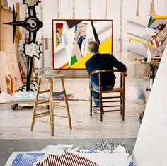 Roy Lichtenstein, studio, Southampton, New York. 'Photographer Laurie Lambrecht worked as a part-time assistant to Pop artist Roy Lichtenstein from 1990 to helping him to inventory his studio' Robert Rauschenberg, Willem De Kooning, Roy Lichtenstein, Piet Mondrian, Wassily Kandinsky, Keith Haring, Henri Matisse, Chuck Close, Marcel Duchamp