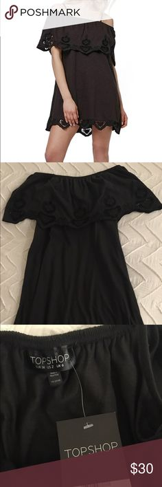 Topshop Cutwork Trim Strappy Sundress Black eyelet lace dress - very comfortable and cute! Can easily dress up or down. New with tags! :) Topshop Dresses Mini