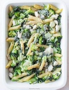 Macaroni casserole with chicken, broccoli and spinach - KS makarony - Yummy Pasta Recipes, Vegetarian Recipes, Chicken Recipes, Dinner Recipes, Cooking Recipes, Healthy Recipes, Macaroni Casserole, Chicken Casserole, Broccoli Casserole