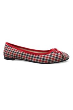 London Rebel red Tipsy tartan trim ballerina style flats, the perfect summer shoes, we love these pumps.