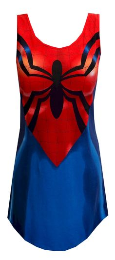 Marvel Comics Spidergirl Tank Style Night Gown  Wow! You will feel like a superhero when you slip this on this super fun night gown! These pajamas for women resemble Spider-Girl's outfit. The tank style gown features her curvy shape and her spider logo. These tank-style night shirts have 5% spandex for a little extra stretch. Machine washable and easy care. Junior cut. $20.00