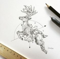 16 Geometrically Fused Wild Animals Drawn Perfectly Using Mathematical Instruments