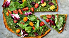 With a thin and crunchy butternut squash crust topped with nutty green sauce and colorful veggies, we can't wait for pizza night. Get the recipe at Whole Hearted Eats.