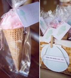 Ice Cream Birthday Party- Love the party favor idea of cotton candy in a waffle cone wrapped up cute!