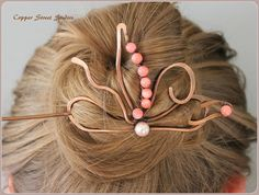 Hair Pin Copper Hair Slide Pink Coral Beads by CopperStreetStudios