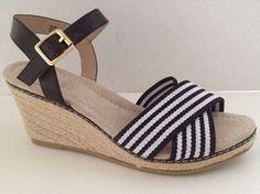 Lands End Shoes Womens Size 8 B Espadrilles Heels Black White Open Toe 8M  | eBay