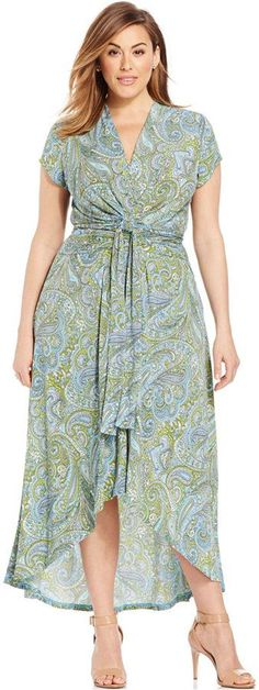Plus Size Printed Faux-Wrap Maxi Dress