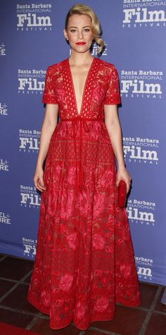 Elizabeth Banks was red-hot at the 31st Santa Barbara International Film Festival in a plunging floral-embroidered, macramé lace Elie Saab gown that she styled with a red clutch, Jane Taylor studs, and a Meira T ring