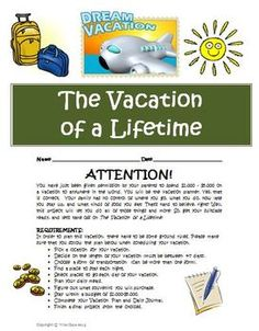 Planning the Vacation of a Lifetime! Interactive Math activity for 4th-5th grade students! $