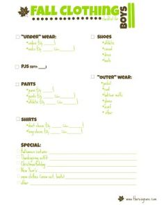 Ever wished you had a list of the clothes your child needs for the upcoming season. Well, here you go! Free printable of Fall clothing for boys and girls | www.thereisgrace.com