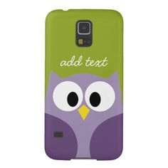 Cute Cartoon Owl Purple and Pistachio Custom Name Cases For Galaxy S5