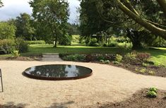 Reflection pool in my garden. Made by concrete in the foundation and a steel frame.