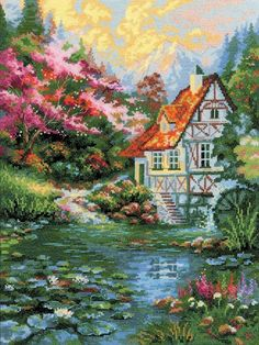 Water Mill from RIOLIS counted cross stitch kit. Cross Stitch House, Cross Stitch Charts, Cross Stitch Designs, Cross Stitch Patterns, Cross Stitching, Cross Stitch Embroidery, Pixel Art Templates, Cross Stitch Landscape, Country Scenes