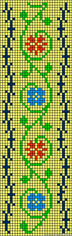 floral Micro macrame / alpha friendship bracelet pattern / cross stitch chart - can also be used for crochet, knitting, knotting, beading, weaving, pixel art, and other crafting projects.