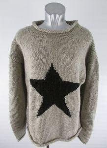 Hippy Jumper~Bohemian Star Warm Thick Wool Jumper Knitted Hippy Winter Top Grey Navy White~Fair Trade By Folio Gothic Hippy~N914JUM5 Gringo ...
