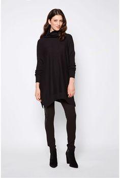 Merino Slouchy Roll Neck Sweater Black 1