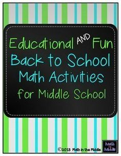 Start the year off right with these 3 fun and educational back to school math activities for middle school!