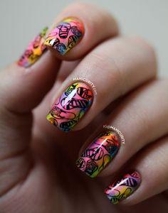 The Digit-al Dozen: Soft Tie Dye Neon Flip Flop Nail Art