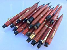 Red Montblanc Pencils - old stock from The Øberg Company - at least one prototype from the danish factory. Vintage Pens, Pencil And Paper, Penmanship, Mechanical Pencils, Writing Instruments, Ballpoint Pen, Denmark, At Least, Fountain Pens