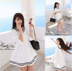 2014 Summer Thin Lolita dress Navy White Sailor dress A-line Half sleeve Sailor collar Striped Cute Japanese dress $14.90