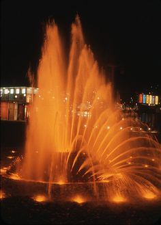 International Fountain at night, 1962 by Seattle Municipal Archives, via Flickr. It's in Seattle Center along with the Space Needle.