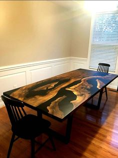 Epoxy Resin Table, Dining Chairs, Dining Table, Walnut Table, Table Dimensions, Tables, Etsy, Furniture, Awesome