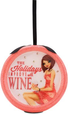 Holidays Improve with Wine, 120mm Blinking Ornament - Hiccup - Pavilion