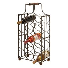 This sheet metal wine holder is made with iron alloy and solid wood for durability and longevity. Fit up to fifteen bottles of wine, champagne or sparkling cider in this holder for a convenient, styli