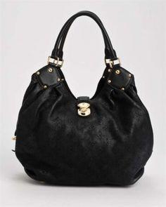 65285267d0 Push Clasp Closure Double Handles Gathered Interior Zip Pocket Lined  Genuine Shoulder Black Leather Hobo Bag