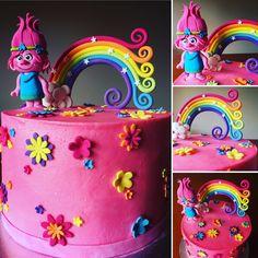 Trolls cake with Princess Poppy and Rainbow