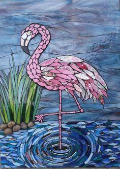 Flamingo, Julie Aldridge - My Wedding Mosaic Garden Art, Mosaic Tile Art, Mosaic Artwork, Mosaic Crafts, Mosaic Projects, Stained Glass Projects, Stained Glass Patterns, Mosaic Patterns, Stained Glass Art