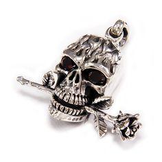 Skull/Rose/Red Eyes Stone/925 Sterling Silver Pendant/Silver Skull Charm/Skull Pendant/Gothic/BikerJewelry/Men's/Women's Pendant nd-031 Skull Pendant, Dragon Pendant, Silver Dragon, Eye Stone, Sterling Silver Pendants, Red Roses, Necklace Chain, Biker, Gothic