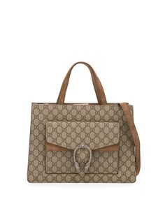 L0P5P Gucci Dionysus Medium GG Supreme Tote Bag, Brown