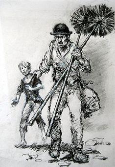 Chimney Sweeps, Higher Brixham by artist Peter Archer. Chimney Sweep, Archer, Cow, Saints, Mary, Artist, Sterling Archer, Artists, Cattle