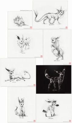 """Pokémon """"Eeveelutions"""" - set of nine prints (pokemon drawing art artwork gaming nintendo eevee) Pokemon Tattoo, Pokemon Team, Pokemon Eeveelutions, Eevee Evolutions, Art Drawings, Drawing Art, Ship Drawing, Pencil Drawings, Drawing Ideas"""