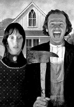 Cool alternative version of Grant Wood's classic painting 'American Gothic', featuring Shelly Duvall and Jack Nicholson from The Shining.