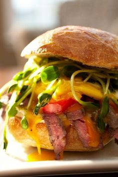 This Rib-Eye Breakfast Sandwich is fun for kids to put together and gives dad a hearty start on Father's Day. (Photo by Wesley Law)