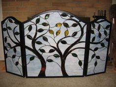fireplace screen glass | Stained glass tree fireplace screen | Unique garden ideas & JUST PLAI ...
