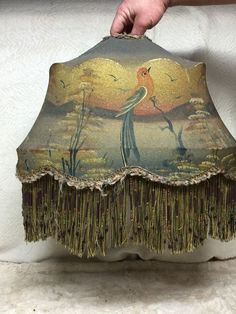 Antique Victorian Painted Beaded Lamp Shade Sugar Bird Boat #Victorian