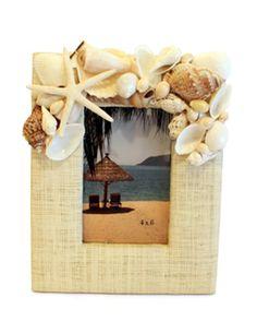 Rafia / Shell Photo Frame with Sugar Starfish