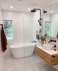 Redfern Terrazzo Look Mixed Bathroom Splashback, White Bathroom Tiles, Bathroom Renos, Laundry In Bathroom, Bathroom Layout, Bathroom Interior Design, Bathroom Renovations, Modern Bathroom, Dream Bathrooms