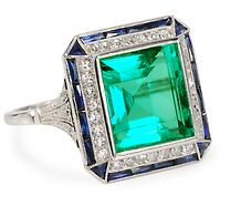 Art Deco Sublime: Emerald Diamond Sapphire Ring