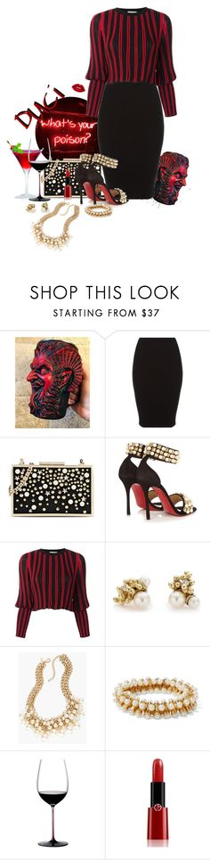 """""""From the Drafts: The Dark Side of Pearls"""" by duci ❤ liked on Polyvore featuring Karl Lagerfeld, Christian Louboutin, Sonia Rykiel, Ruth Tomlinson, Chico's, Kenneth Jay Lane, Riedel and Giorgio Armani"""