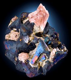 Bornite coated Chalcopyrite with pink Calcite crystals - Mexico-